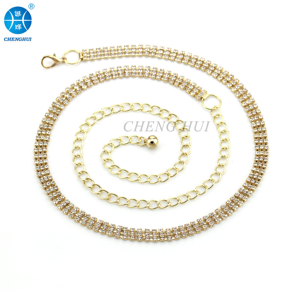 Versatile Fashion Three Rows Man-made Diamond Chain Belt Gold Diamond Set WOMEN'S Waistband Dance Accessories