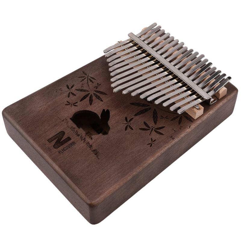17 Keys Kalimba Rabbit Thumb Piano Mahogany Wood Finger Piano Musical Instrument With Tuner Hammer Storage Box