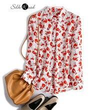 Silviye Silk Long Sleeve Shirt women's silk fox print top fashion foreign style