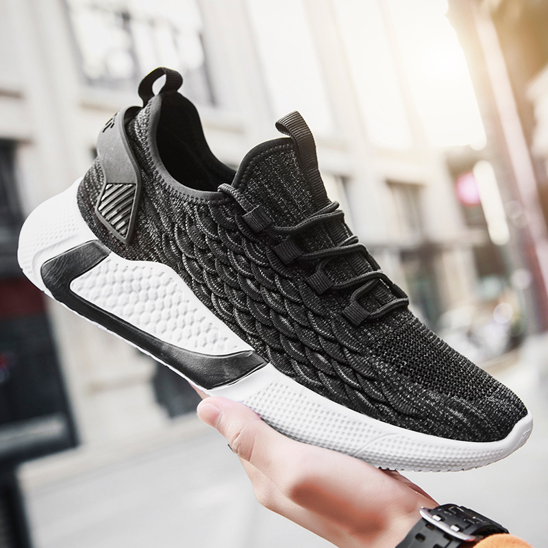 2020 New Men Sports Shoes Mesh Athletic Shoes Sneakers Breathable Running Shoes Lightweight Men Lace-Up Cushioning Outdoor Shoes