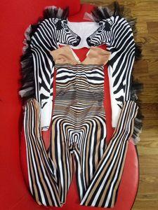 Image 2 - Yeni stil Zebra desen tulum kadın şarkıcı seksi sahne kıyafet Bar DS dans Cosplay Bodysuit kostüm balo elbise