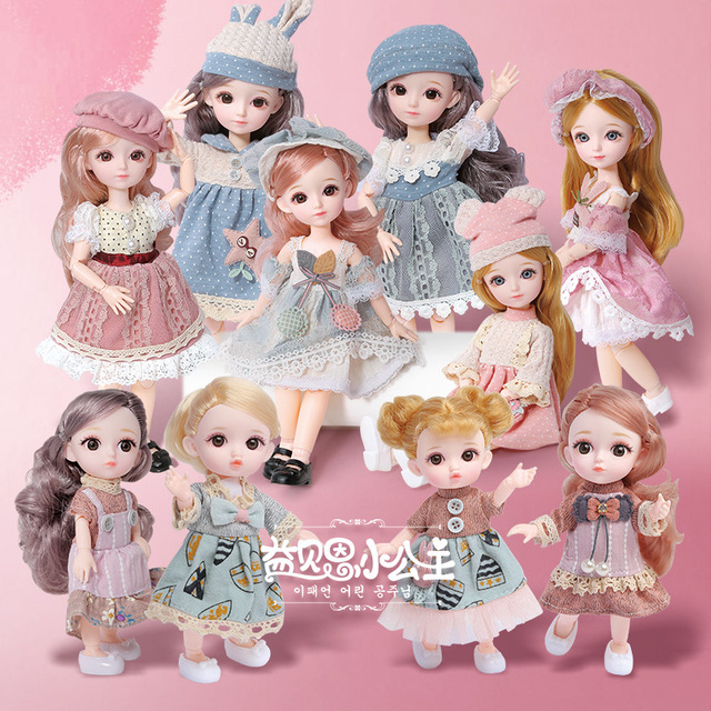 16cm/31cm Bjd Doll 12 Moveable Joints 1/12 Girls Dress 3D Eyes Toy with Clothes Shoes Kids Toys for Girls Children Birthday Gift 1