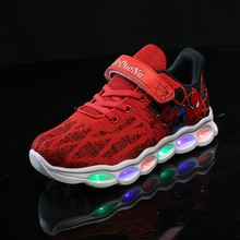 LED Kids Shoes Spiderman Glowing Sneakers Boys Shoes Fiber Optic Shoes Chaussure Enfant Spor Ayakkabi Buty LED Kinder(China)