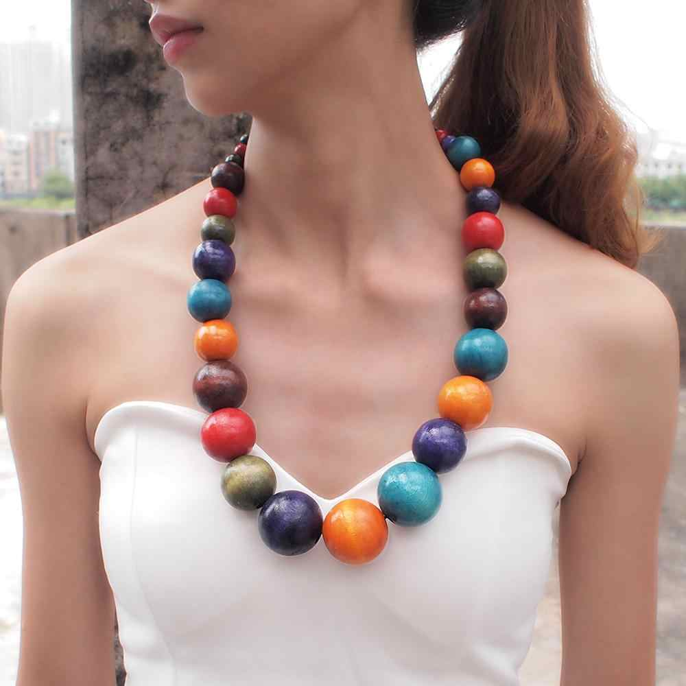 MANILAI Fashion Bohemia Colorful Unique Wood Beads Exaggerated Necklace For Women Statement Necklace Jewelry 2019 Accessories