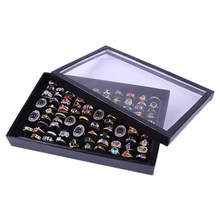 100 Slot Black Sponge Ring Display Box Cardboard Jewelry Storage Case Holder Showcase Ring Cufflink Jewelry Tray With Clear Lid(China)