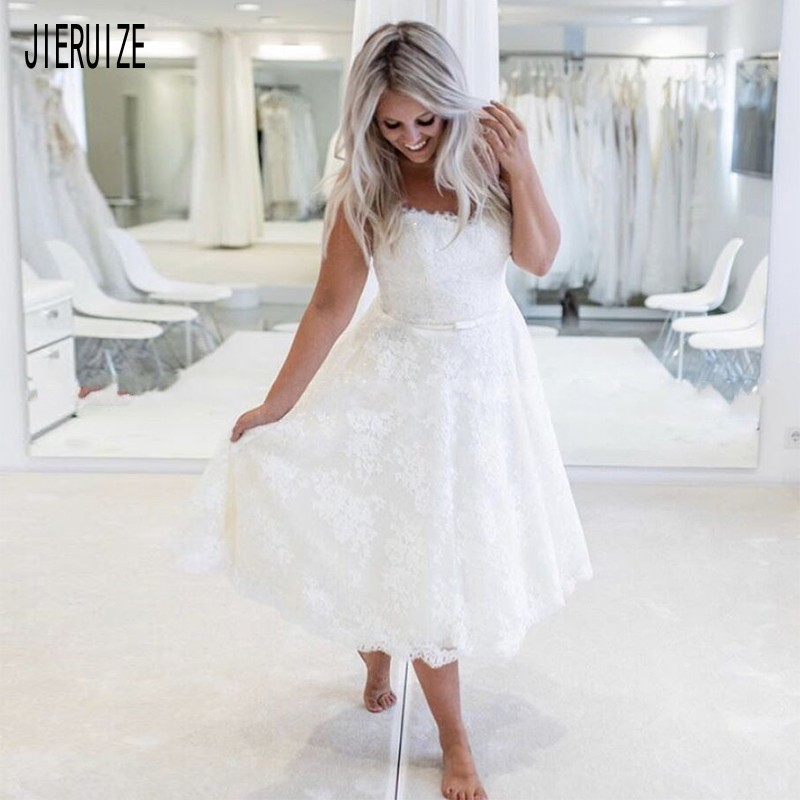 JIERUIZE New Short Boho Wedding Dresses Scoop Neck Bow Sashes Appliques Wedding Gowns Lace Up Back Bridal Gowns Robe De Mariee