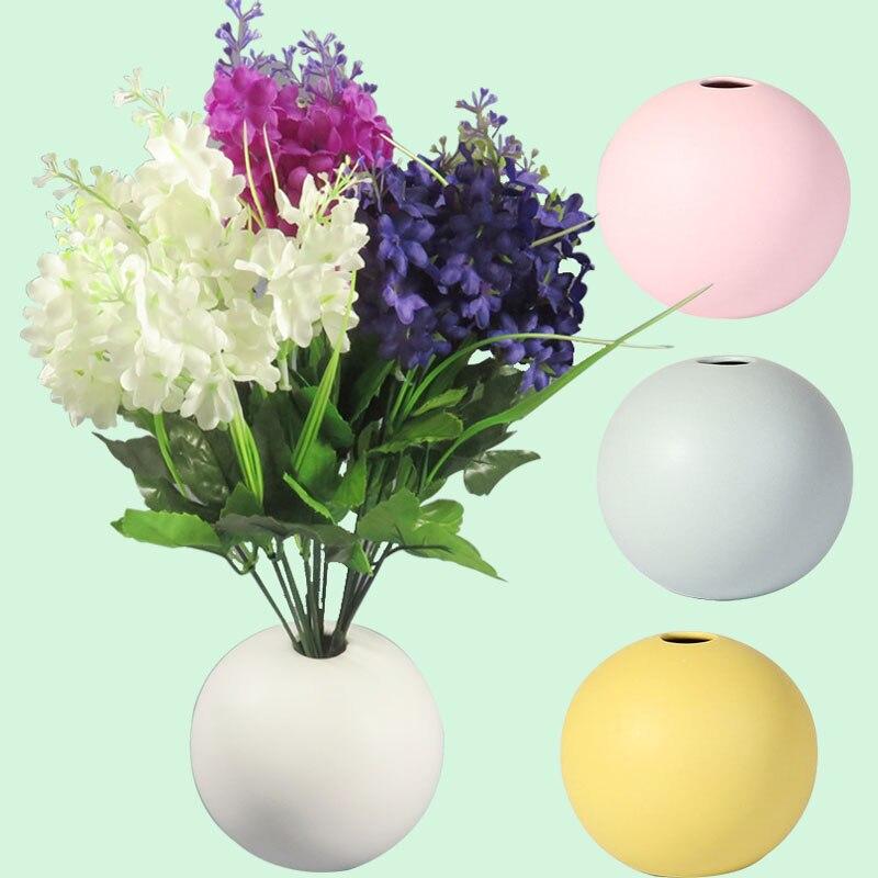 Nordic round ceramic pot bright color flower vase home office entrance shelf decoration ball shape vivid color suitable for all