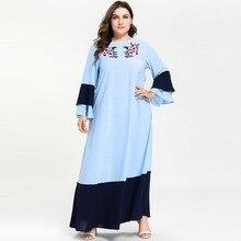 Модное мусульманское платье с длинным рукавом размера плюс, с вышивкой, с расклешенными рукавами, кафтан, Марокканское арабское платье, Vestidos, светильник, синий, 4XL