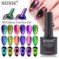 MIZHSE 9D Galaxy Olhos de Gato Gel Esmalte UV Gel Unha Polonês 10ml Com Forte Ímã Permanente 6 Cores Camaleão Gel Verniz