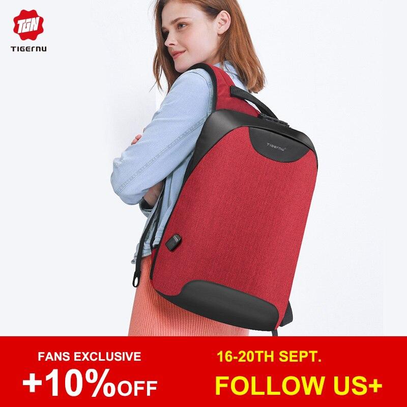 Tigernu femmes Anti-vol TSA Lock femme sac à dos pour ordinateur portable USB Charge sac d'école pour adolescente filles sacs à dos féminin sac à dos