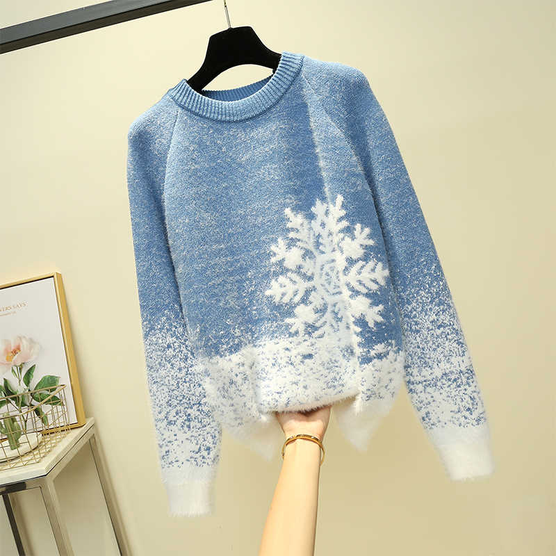 Christmas Mohair Sweater Women Thicken Snowflake Pullover Winter Knitted Vintage Kawaii Soft Warm Casual Female Tops