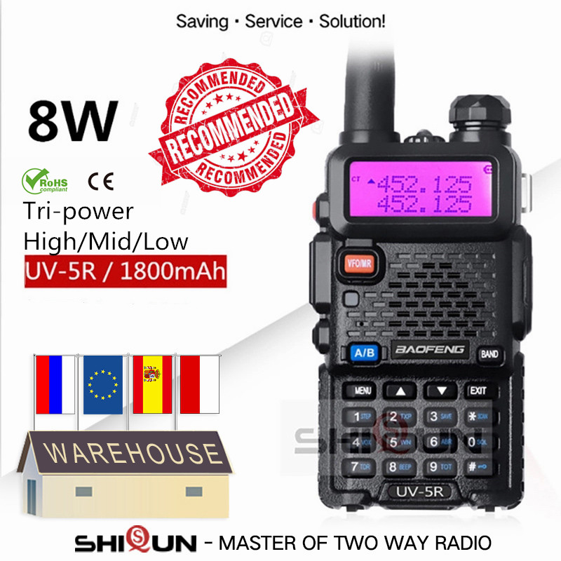 Walkie-Talkie Hunting-Radio Baofeng Uv5r UV-5R UV-82 5W 8W 10-Km Optional