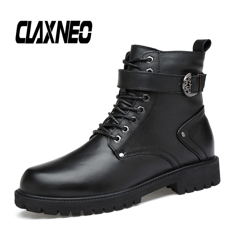 CLAXNEO Man Boots High Top Autumn Male Motorcycle Boot Genuine Leather Men's Shoe Winter Footwear Fur Warm Big Size