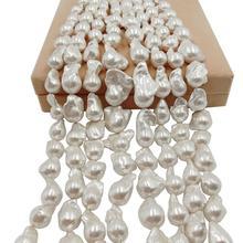 Perla suelta 100% de agua dulce de 16 pulgadas, con forma Barroca en hebra, Perla de Gran barroco de 15 27mm x 17 32mm. Color plateado