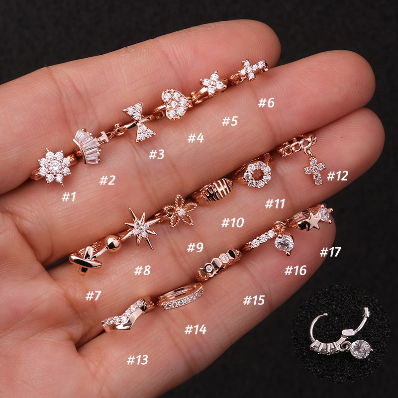 1 Piece Surgical steel Tiny 5mm Color Tiny Hoop Earring Piercing Cz Tragus Daith Rook Cartilage Ear Piercing Jewelry