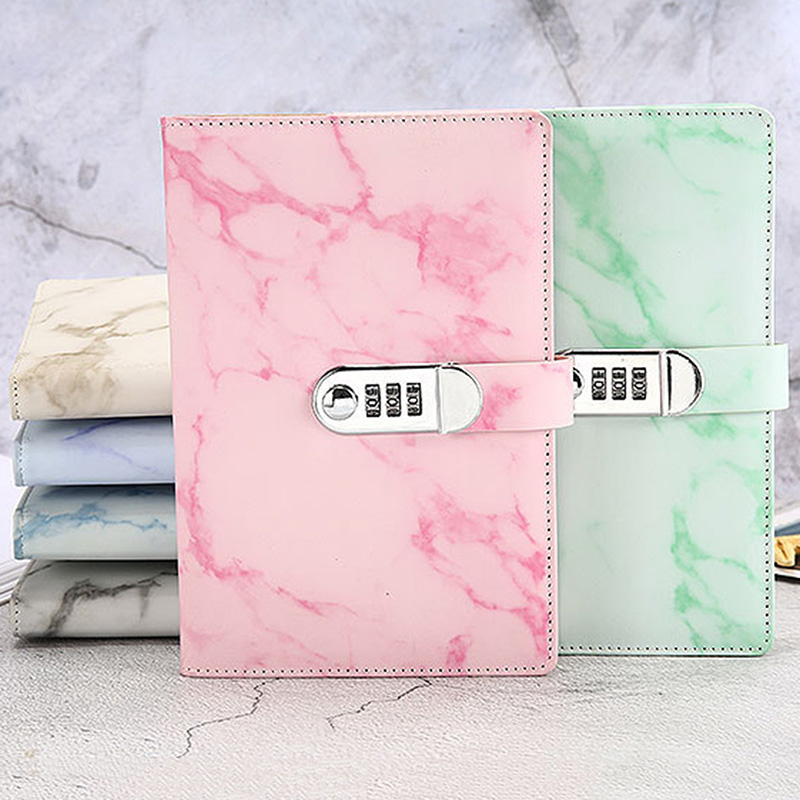 Notebook Paper Vintage Leather Marbling Diary Journal With Combination Password Lock Code Notebook School Office Stationery