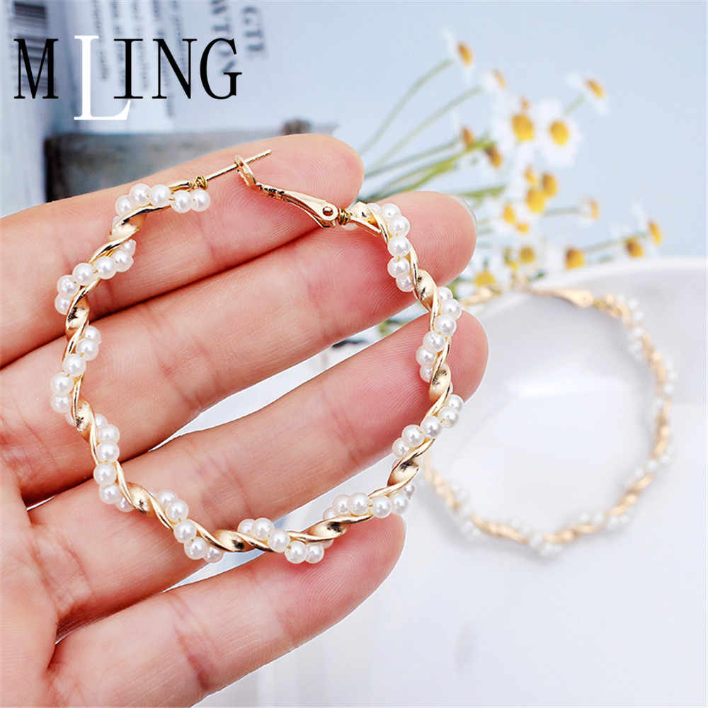 MLING 2019 Vintage Gold Alloy Earrings Newest Pearl Metal Geometric Hoop Earrings For Women Girl