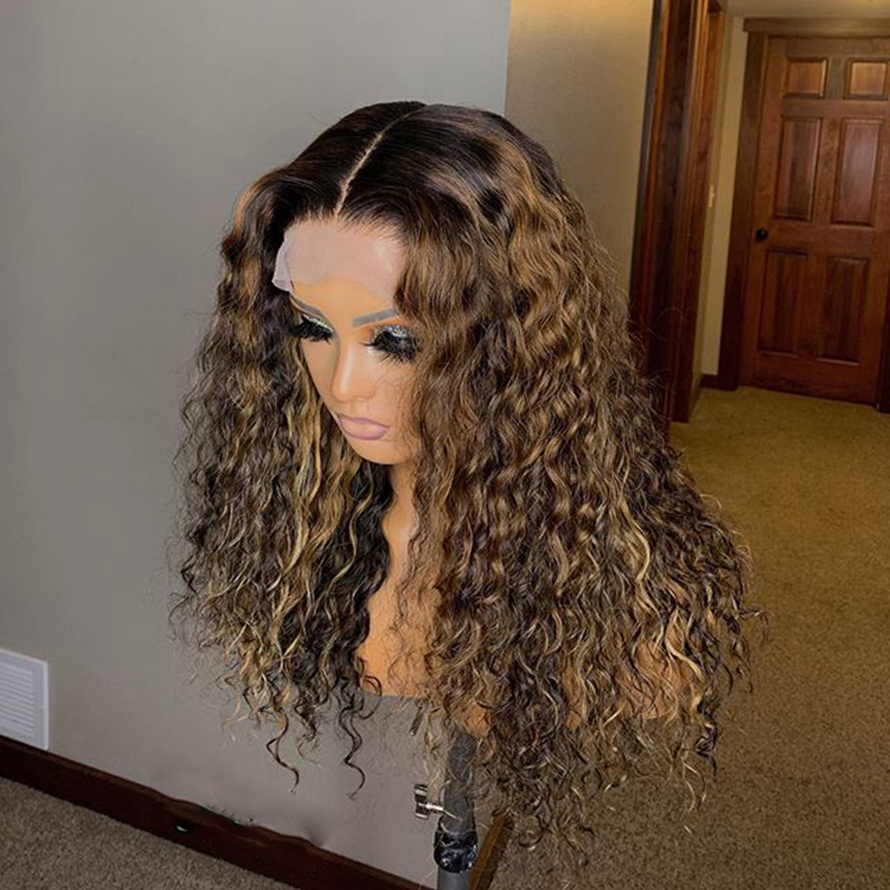 Honey Blonde Full Lace Human Hair Wigs Kinky Curly Ombre Full Lace Wig Pre Plucked Full Lace Human Hair Wigs Color