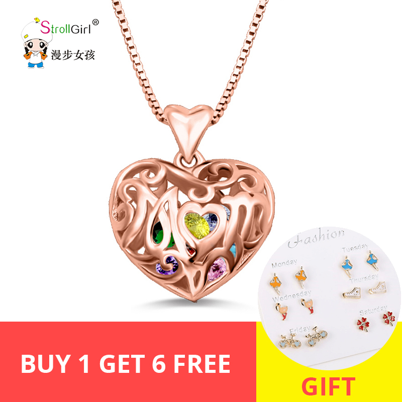 StrollGirl Hot 925 sterling silver custom girlfriend heart cage birthstone necklace DIY pendant necklace Valentine 39 s Day gift in Pendant Necklaces from Jewelry amp Accessories