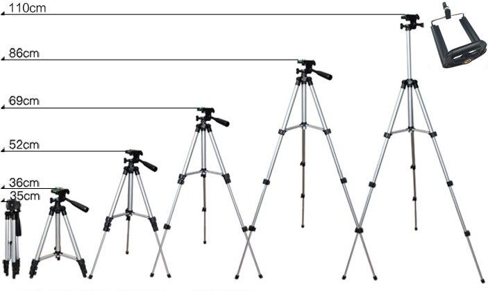 Выдвижная Подставка-Трипод для мобильного смартфона, цифровой камеры, крепление-держатель, набор клипов для Nikon, для Canon, для iPhone 6, 6 S, 7, 110 см/65 см - Цвет: 110cm
