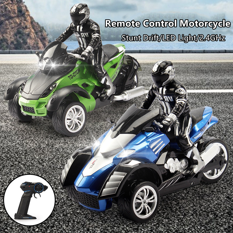 1:10 Simulation Three-wheel Remote Control Motorbike 25KM/H Drift And Racing 2.4GHz 80M Remote Control Rechargeable Electric Toy