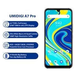 UMIDIGI A7 Pro Телефон Quad Camera Android 10 OS 6,3 дюймFHD + полный экран 64 Гб/128 ГБ ROM LPDDR4X Восьмиядерный процессор глобальная версия