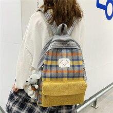 2020 Canvas Lattice Teenagers School Bags Girls Backpack Shoulder Bag Women Backpack Daypack Work Travel Laptop Backpack Mochila new college backpack casual girls teenagers shoulder bags canvas zipper daypack book bag travel backpack