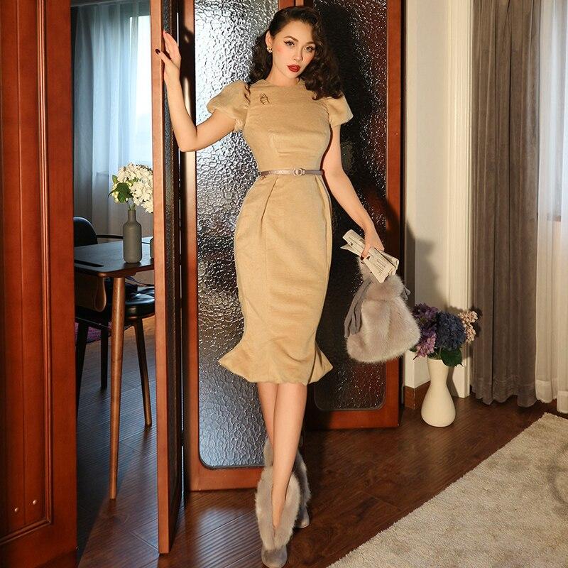 Le Palais Vintage 2019 Original Vintage Classic Beige Wool High Quality Puff Sleeve Trumpet Mermaid Winter Women Dress