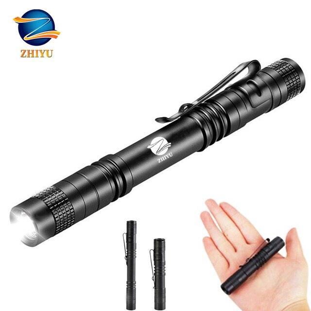 ZHIYU mini cep LED el feneri CREE XPE-Q5 lamba boncuk ev su geçirmez küçük meşale kullanımı 1/2 AAA pil açık ışık