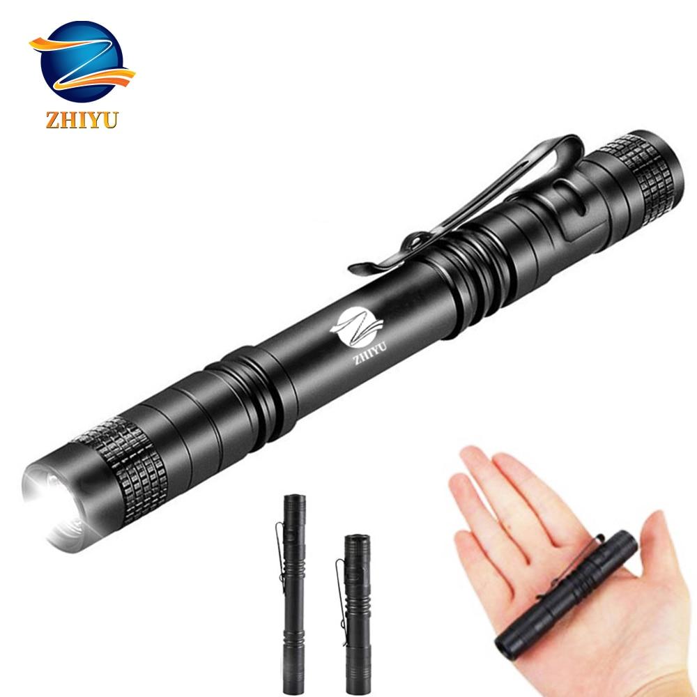 ZHIYU Mini Pocket LED Flashlight CREE XPE-Q5 Lamp Bead Household Waterproof Small Torch Uses 1/2 AAA Battery Outdoor Light