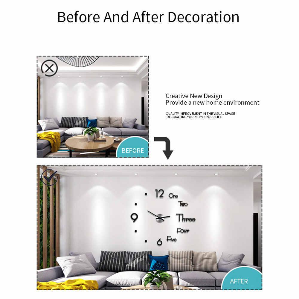 Montre murale en forme de miroir acrylique | Grande horloge, Design moderne, 3d bricolage, autocollant mécanisme miroir, décoration de salon maison, aiguille à Quartz