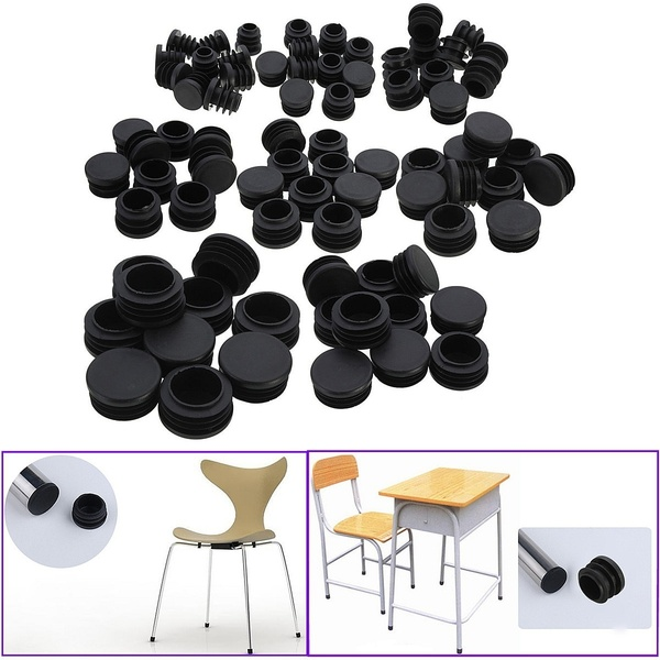 10x Black Plastic Blanking End Caps Cap Insert Plugs Bung For Round Pipe Tube