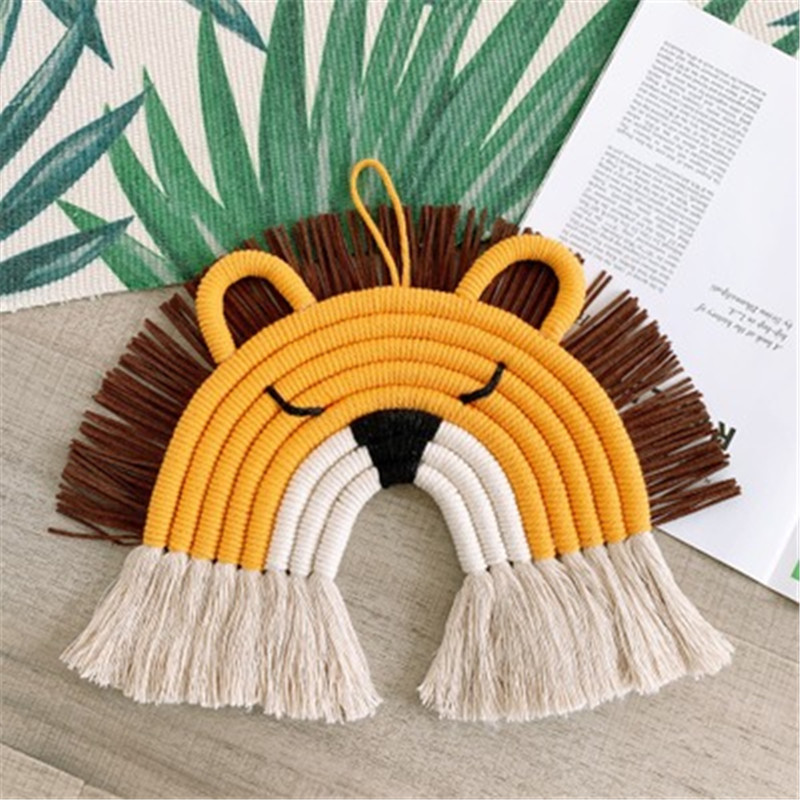 Ins Nordic Style Deer Lion Macrame Rainbow Wall Hanging For Kids Room Decor Woven Lion Tapestry Wall Hanging Pendant Decoration