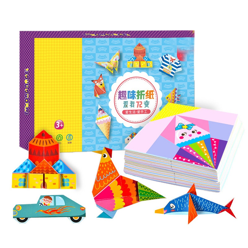 152 Pcs DIY Educational Origami Paper Cutting Book Crafts Children Handmade Toys Kindergarten Fun Puzzle Baby Kids Gifts