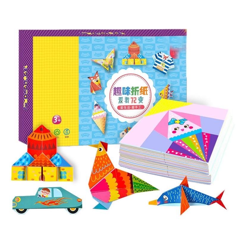 152 Pcs DIY Educational Origami Paper Cutting Book Crafts Children Handmade Toys Kindergarten Fun Puzzle Baby Kids Gifts