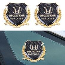 2Pcs 3D Metal Car Side Window Body Emblem Stickers Badge Accessories For Honda Accord
