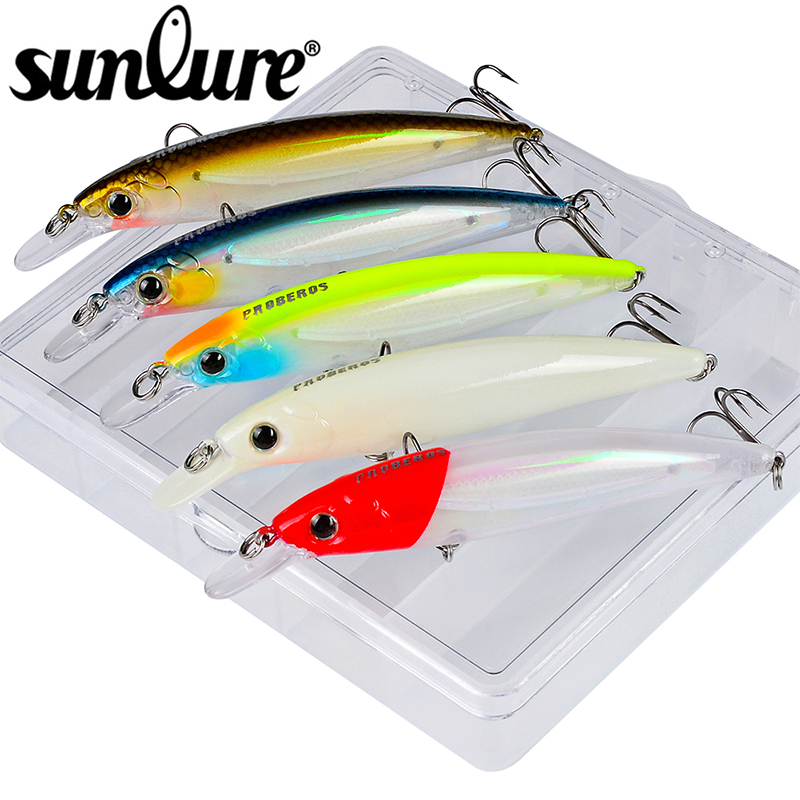 Sunlure 5pcs Mixed Color Fishing Lure Set Sinking Minnow bait Artificial Hard Bait Fishing bait Wobbler with Fishing Tackle Box