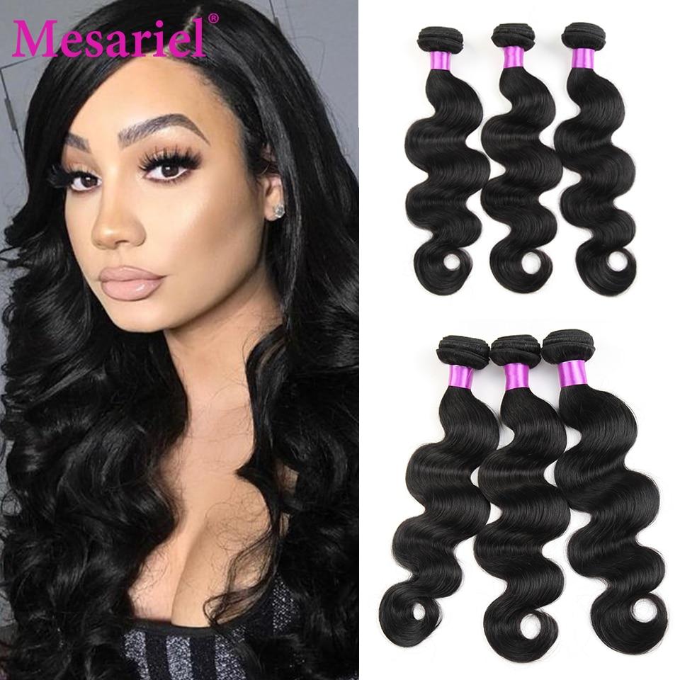 Mesariel Peruvian Body Wave Hair Bundles 100% Human Hair Weave Natural Black Non Remy Hair Extension 8-30 Inch 3/4 Bundles