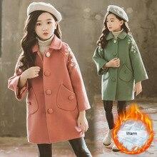 Детское пальто с цветочным рисунком для девочек осень-зима г., Модное теплое плотное шерстяное пальто средней длины для девочек, куртки одежда для детей от 3 до 10 лет