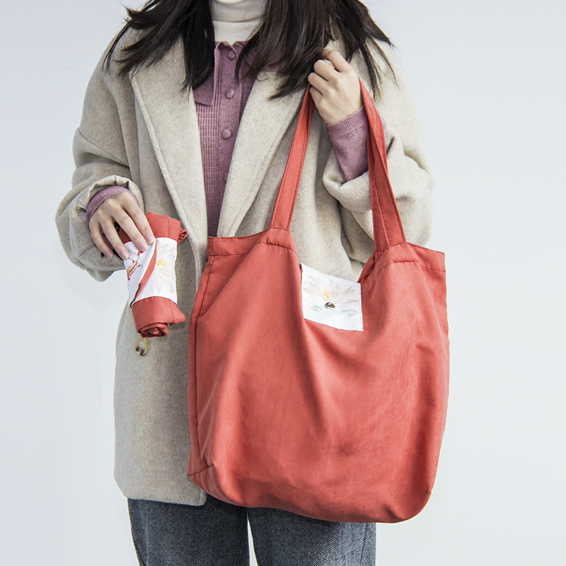 Tote Bag Chinese Style Printing Foldable Suede Shoulder Bags For School Or Shopping Washable Casual Handbag Can Be Customized