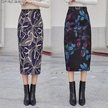 Elegant Bodycon Pencil Skirt Female Vintage Winter Woolen Women Skirt High Waist Saia Midi Belt Split Print Floral Ladies Skirts self belt ruffle waist high split skirt