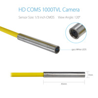Small 6.5mm Camera Head,Pipeline Inspection Camera Spare Parts/accessories for Repair or Replacement,IP68 Waterproof 1000TVL CCD