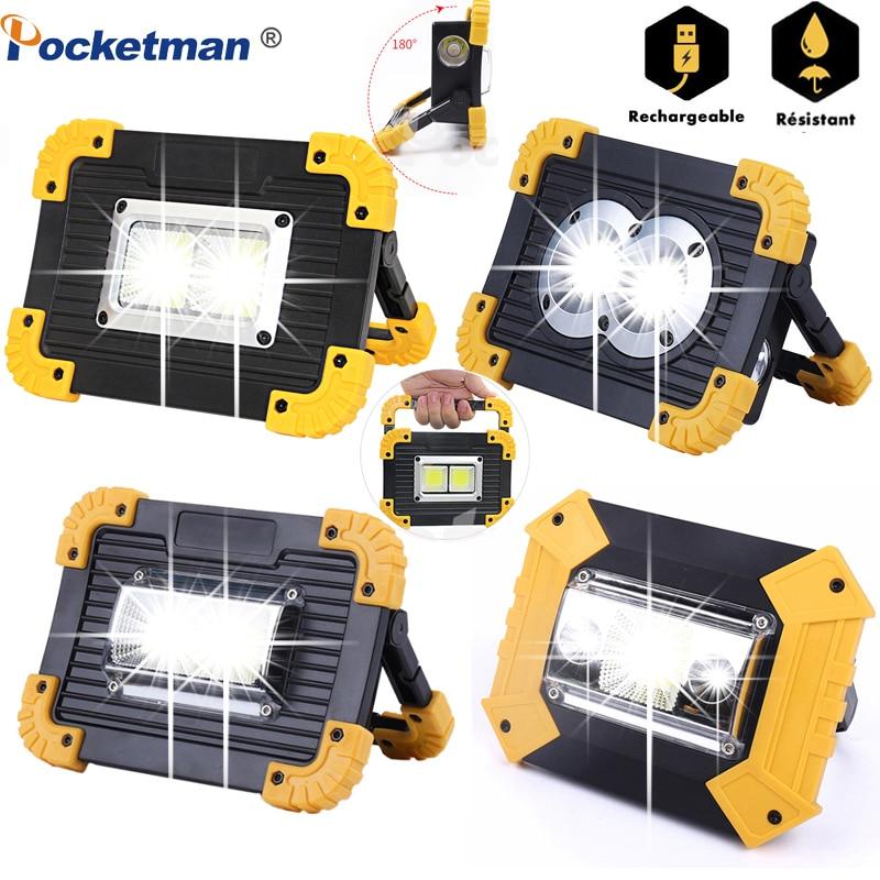 6000lm lampe de poche Portable projecteur lanterne torche COB travail lumière Camping lampe par 2*18650 batterie Rechargeable/3 * AA batterie