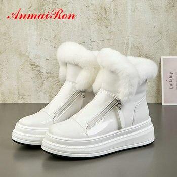 ANMAIRON 2019 Slip-On Women Shoes Basic Patent Leather Round Toe Winter Boots Women Short Plush Zip Warm Fur Women Ankel Boots