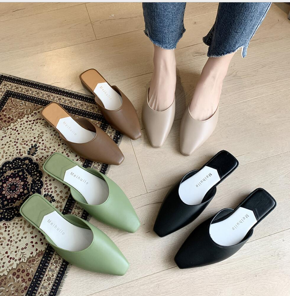 2020 Fashion Pointed Toe Mules Women Summer Slippers Candy Color Flats Slip-on Holiday Ladies Sandals Slides PU Women Shoes