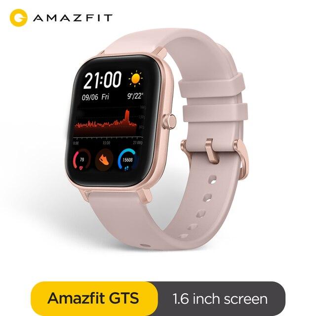 Globale Version Amazfit GTS Smart Uhr 5ATM Wasserdichte Smartwatch Lange Batterie GPS Musik Control Leder Silicon Strap