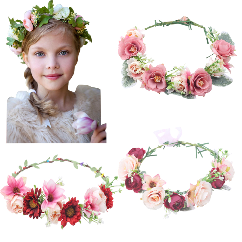 Camellia Flower Crown Festival Headband Women Hair Accessories Headdress Girl Floral Garland Wedding Girls Hair Flower Hairpiece