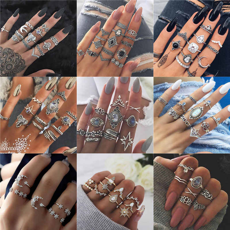 Bohemian Retro Gem Crown Crystal Moon Heart Waves Geometric Silver Ring Set Women Party Jewelry Gifts