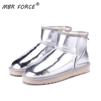 MBR FORCE new Australia Women Snow Boots 100% Genuine Cowhide Leather Ankle Boots Warm Winter Boots Woman shoes large size 34-43 shangmsh floral ankle boots for women winter genuine leather women s boots retro handmade comforable shoes footwear large size