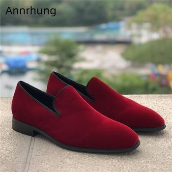 Concise Velvet Men Loafers Black Claret Casual Shoes Men 2020 New Autumn Round Toe Slip On Flats British Style Men Shoes